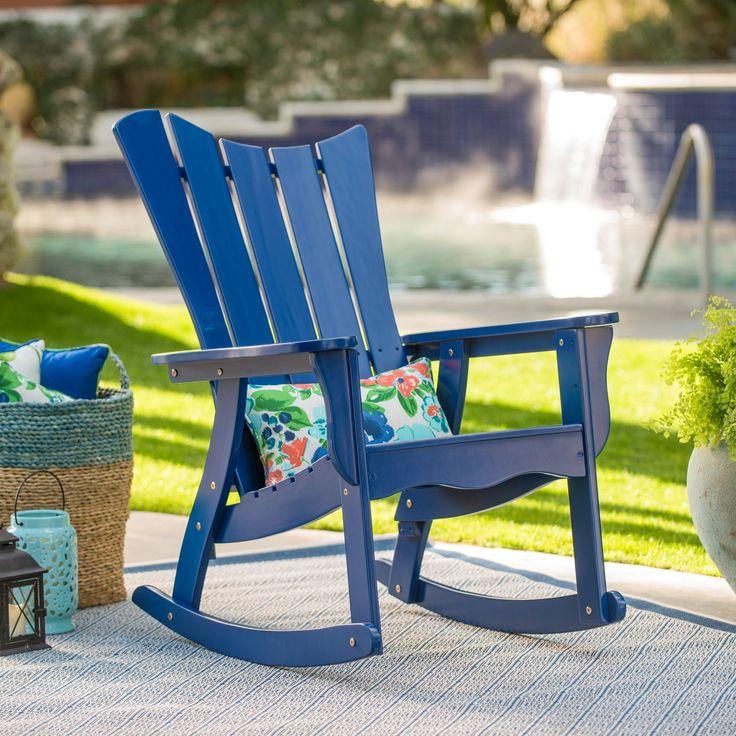 Outdoor Belham Living Ocean Wave Adirondack Rocking Chair - Cobalt - VFS-GB43HD COBALT