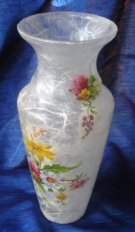Glass vase decorated with decoupage technique, painted with waterproof paint, not dishwasher safe