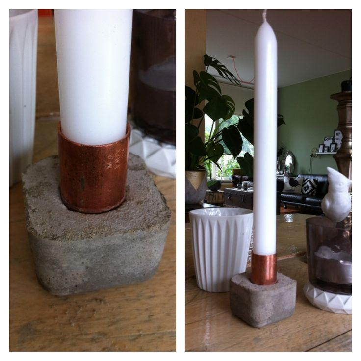 #DIY #Candlestick #mold #concrete #copper #interior