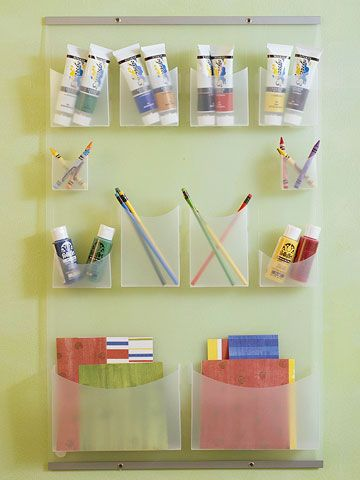 See-Through Storage.... we use a big pocket organizer for kids' crafts at church and it's wonderful... why haven't I thought about doing this at home before??! :-D