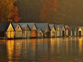 Boathouses at Dawn, Greater Sudbury Ontario, Canada - Professional Photos