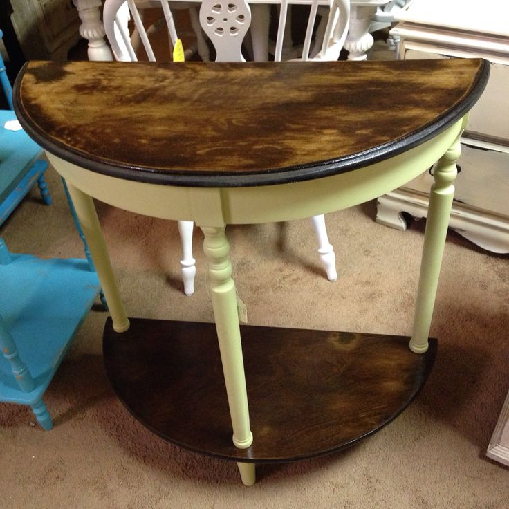 Green Foyer Table : Foyer table painted a sage green with dark stain and