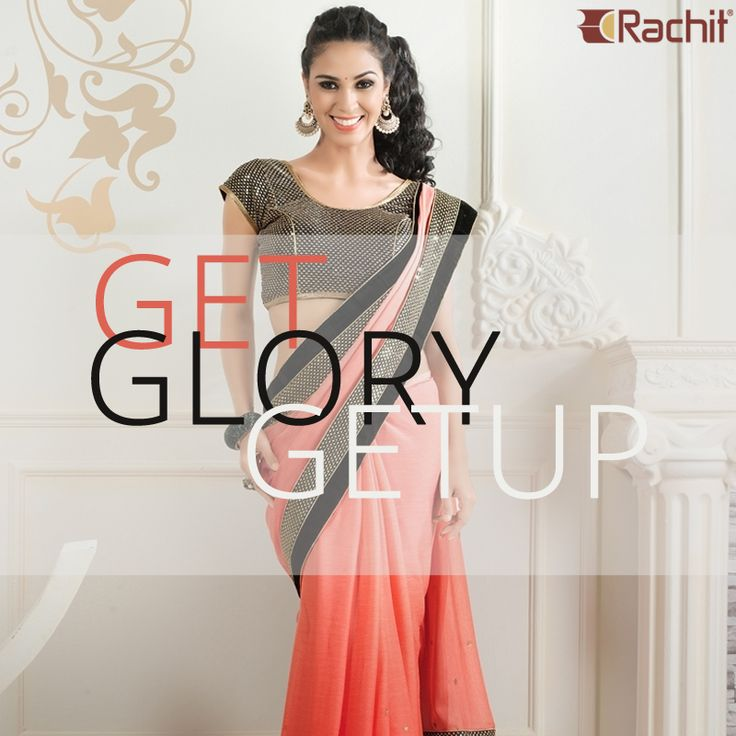 Get Glory Getup by wearing our most entrancing peach chiffon designer saree.