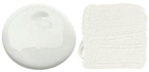 """Benjamin Moore's low- and no-VOC paints in either Super White (above L) or Decorator's White (above R, photo via House Beautiful). """"Because color is so dependent on context, we always select colors based on the material palette and lighting in each room; the relative amount of gray or yellow is critical. We avoid pink-tinted whites."""""""