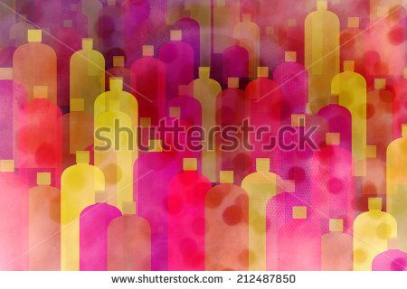Abstract bottles background in pink and yellow tones - stock photo