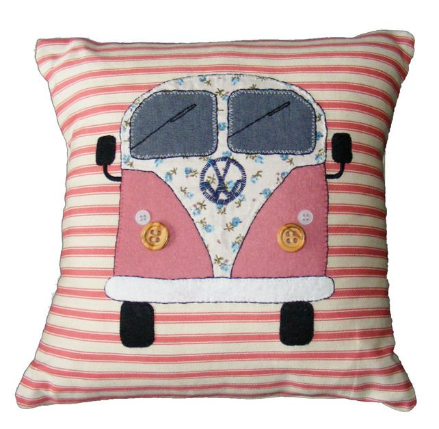 VW campervan pillow cushion, pink appliqued felt on striped fabric £35.00