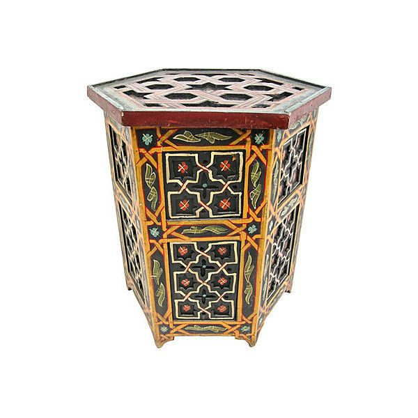 Pre-Owned Painted Moroccan Side Table ($849) via Polyvore featuring home, furniture, tables, accent tables, multi, moroccan style table, painted furniture, moroccan end table, moroccan furniture and moroccan table