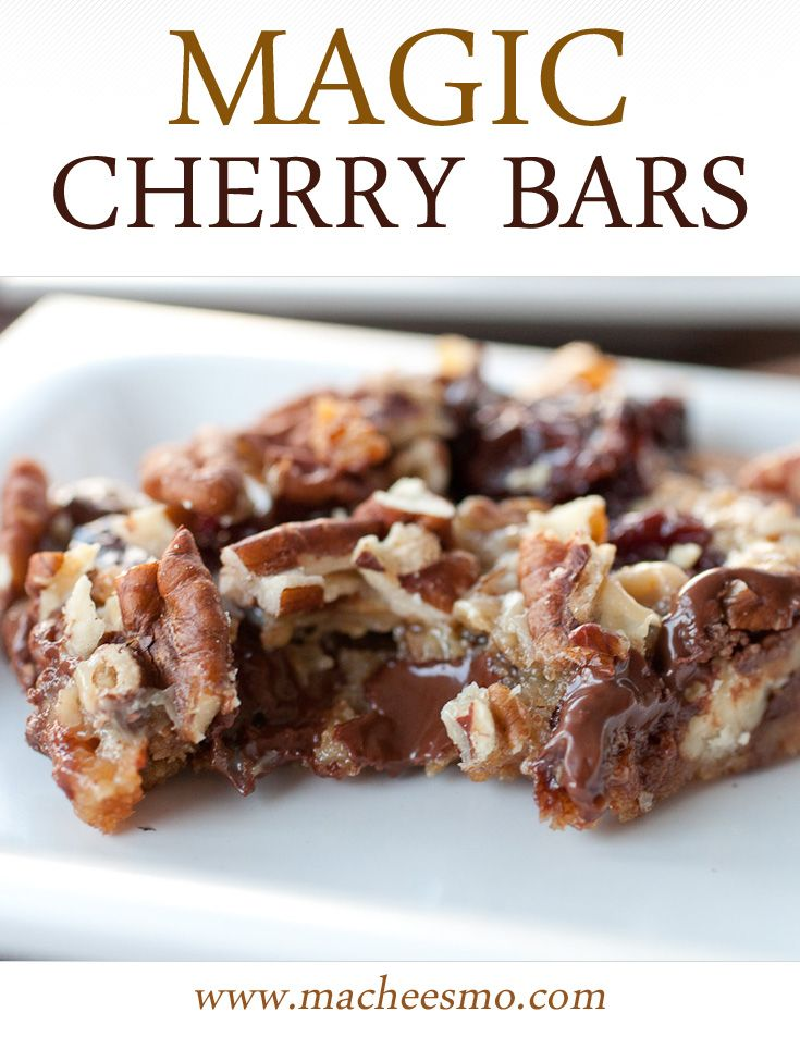 Gooey Chocolate cherry cookie bars laced with dried cherries, chocolate, and pecans.