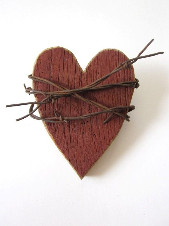 Rustic Red Heart Barn Wood Sign with barbed wire - My Wild Heart- Valentines gifts wedding decor valentine decorations western decor