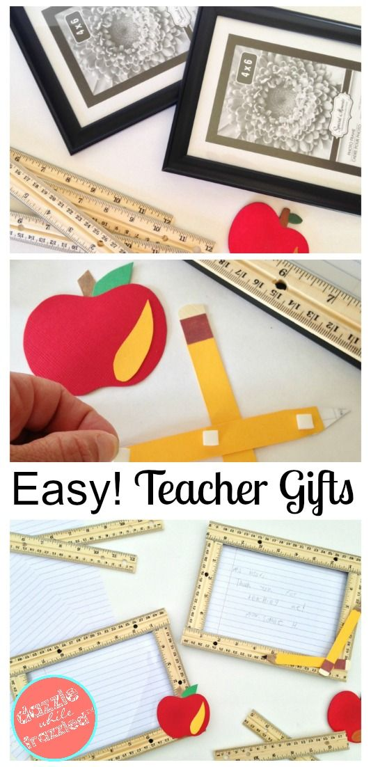 How to create teacher appreciation gift using inexpensive photo frames and wooden rulers for a unique DIY teacher gift craft idea. via @https://www.pinterest.com/dazzlefrazzled/