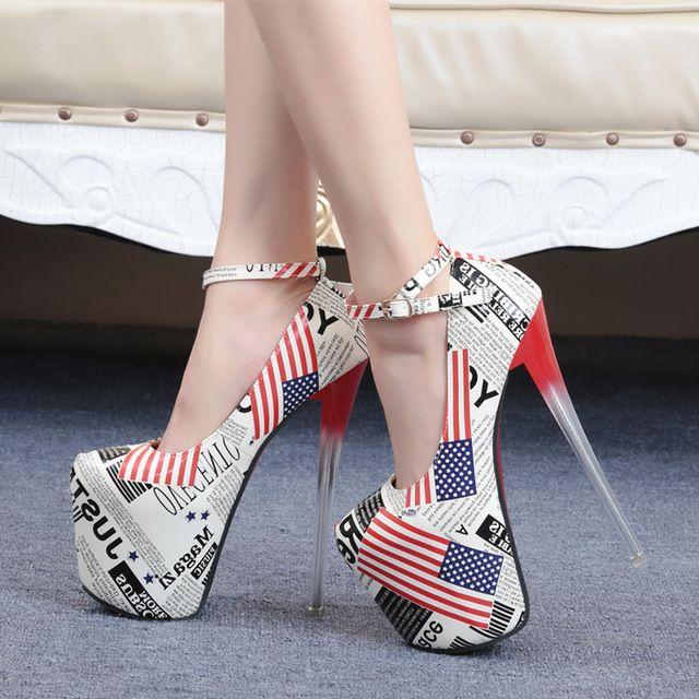 amerika vlag 19cm hoge hakken pumps hakken pompen dunne vrouwen rode zool hoge hakken platform hakken pompen verenigd koninkrijk vlag pompen