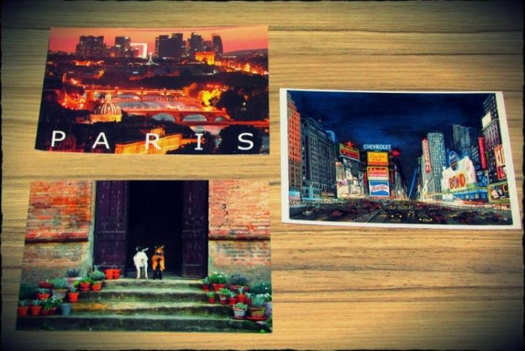 3 inbound postcards frm postcrossing Paris New York and 2 goats :)
