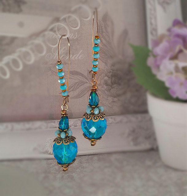 Viktorianischen Ohrringe, antike Renessance Schmuck, Romantique Vintage Stil Ohrring. Ohrringe. Aquamarin Perlen Ohrringe