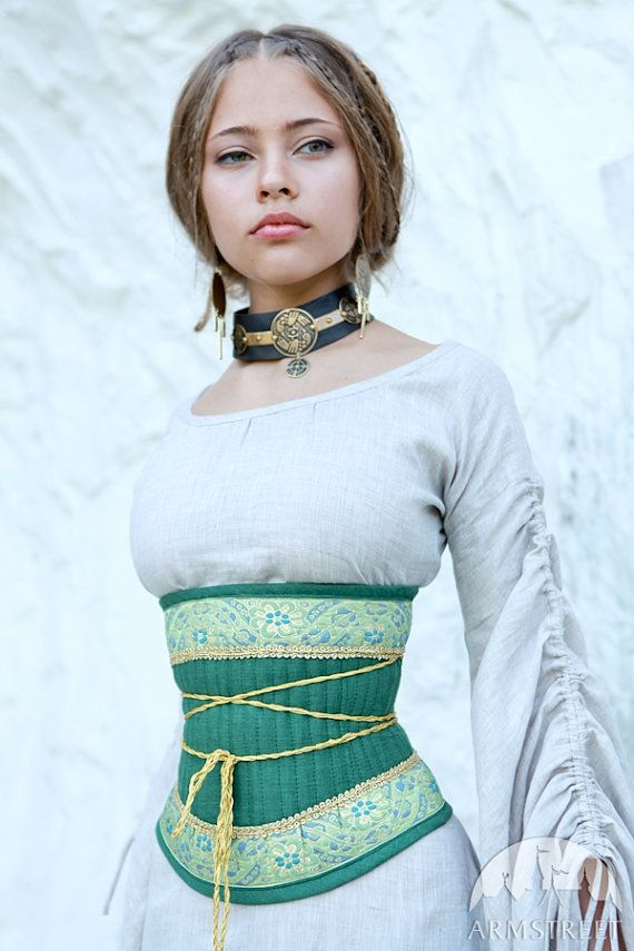 Medieval renaissance linen corset belt Mistress of The Hills  Corset is made of linen using original medieval technology with cord inside instead of
