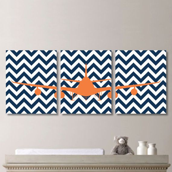 Airplane Aviation Chevron Print Trio   Home by RhondavousDesigns2, $20.00