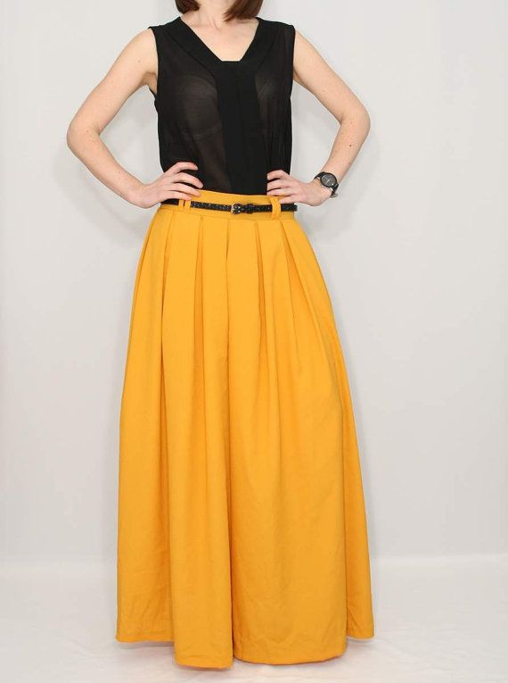 Chiffon Wide Leg Pants Palazzo Pants Mustard Yellow by KSclothing on Etsy