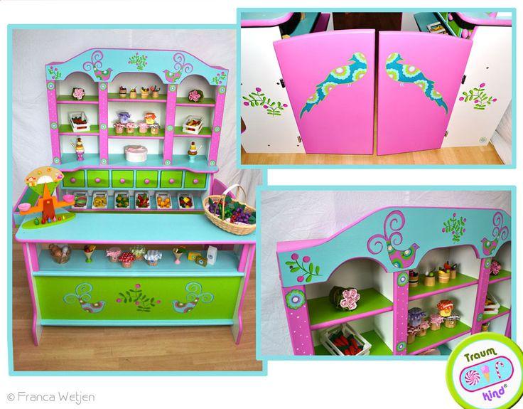 kaufmannsladen f r kinder individuell handbemalt kinderkaufladen aus massivholz pinterest. Black Bedroom Furniture Sets. Home Design Ideas