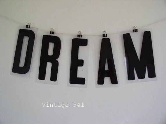 Vintage Sign Letters DREAM Black Plastic Letters