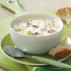 Reuben soup - this recipe was yummy...I omitted the celery as I didn't have any in the house and didn't miss it all. I also substituted 2% milk for the half and half.