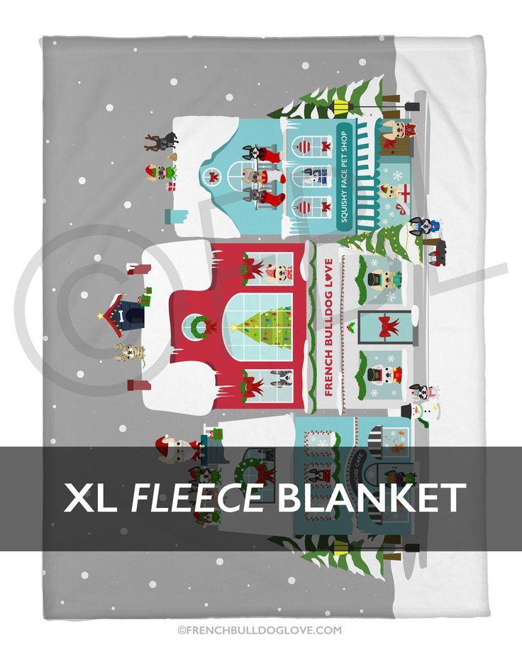 2016 Holiday Blanket - Frenchie Street French Bulldog Fleece Blanket - XL