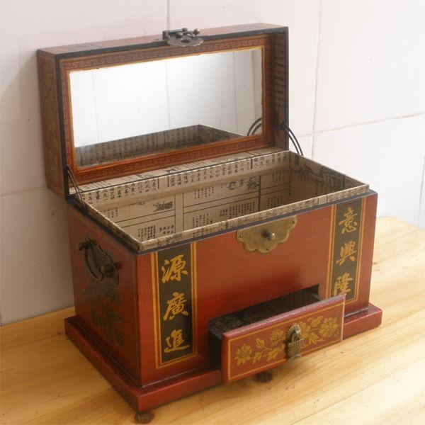 Bruine houten ijdelheid gevallen met spiegel, antieke lederen dressing doos, chinese stijl bruiloft geschenk herinnering, vintage kist vrouw