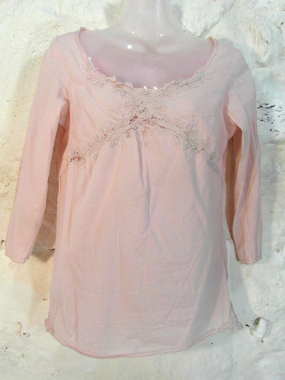 Pink cotton blouse size S / M pastel pink by frenchvintagedream