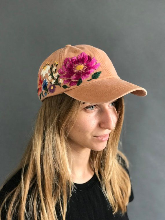 Hand Embroidered Baseball Hat For Women Custom Embroidered Flowers Baseball Cap For Women Birthday Gift For Mom Personalized Gift Fot Her Embroidered Hats Hats For Women Custom Embroidered Hats