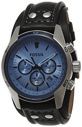 Fossil – CH2564 – Montre Homme – Quartz Analogique – Cadran Bleu – Bracelet Cuir Noir