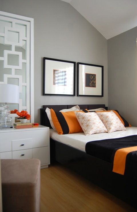 bedroom small space orange and grey bedroom modern bedroom 15503 | 1e04c38cf50aba308fde6ff570a04440