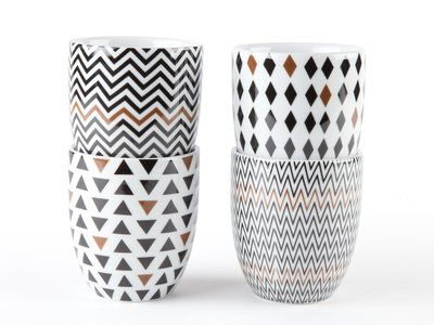 Tasses à café en porcelaine motifs zigzag noir / cuivre - Coffret de 4 pièces SISKO