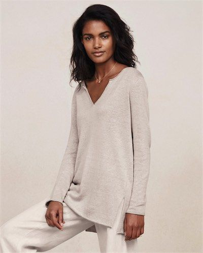 Poetry - Cotton tunic - This tunic length knit is in a soft cotton yarn thats plaited with linen to create a marled and flecked colour. Casual styling with neat fitting, full-length sleeves and a rolled hemline with deep side splits. 40% cotton 60% linen