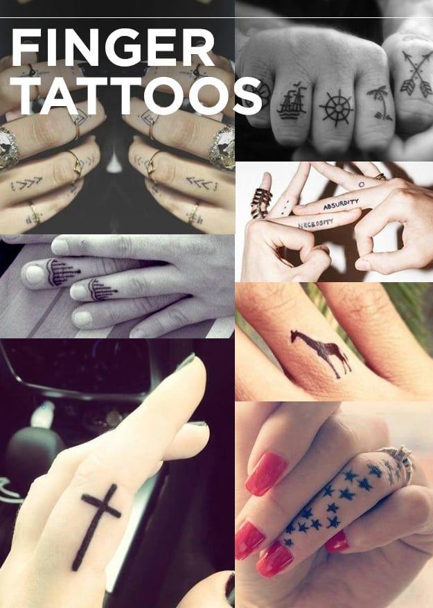 Los tutuajes de dedos son los nuevos tatuajes de nudillos.Puntos y V's | tatuajes de nudillo | tatuajes de cruz | estrellas | jirafa | necesidad/absurdo | alheña