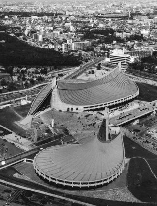 Yoyogi National Gymnasium An aerial view of the Yoyogi National Gymnasium, circa 1965. Designed by Kenzo Tange to house the swimming and diving events in the 1964 Tokyo Olympics, it is now a major venue for basketball and ice hockey. (Photo by Three Lions/Hulton Archive/Getty Images)