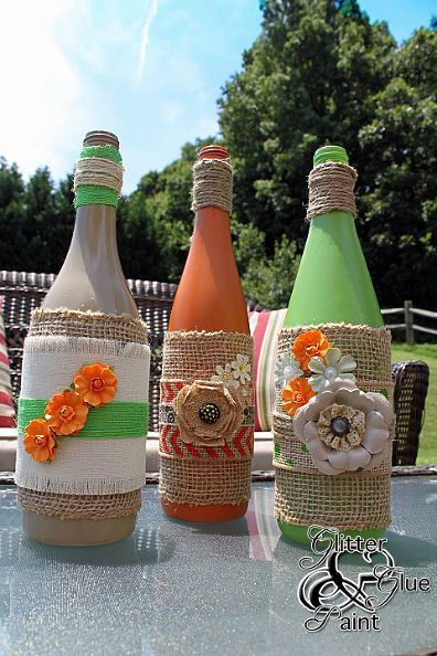 tiki wine bottles, crafts, home decor, repurposing upcycling, How about some bright summer green and oranges to brighten up your space