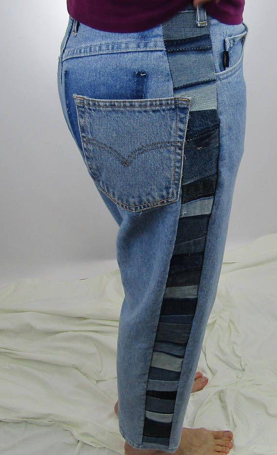 Réinventé Blue Jeans recyclés récupérés femmes taille moyenne