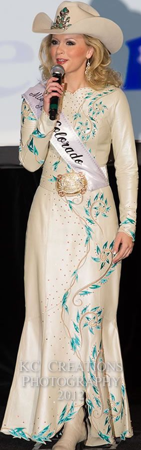 Cassidy Cabot, Miss Rodeo Colorado in an off-white pearlized lambskin dress