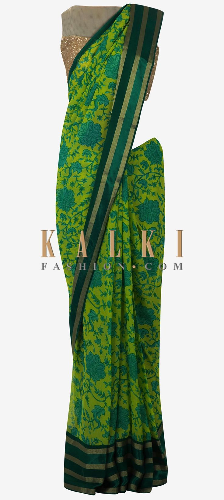 Buy Online from the link below. We ship worldwide (Free Shipping over US$100)  Click Anywhere to Tag Parrot green saree featuring in teal blue floral motif print all over only on Kalki Saree featuring in parrot green in georgette fabric. Its enhanced in teal blue floral motif print all over along with foil border. Matched with unstitched blouse fabric in teal georgette. Slight variation in color is possible.