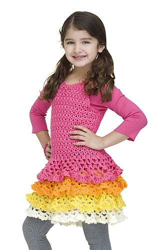 Ruffles and bright colours make for a fun summer dress, perfect for girls aged 3 to 10. (Yarnspirations)