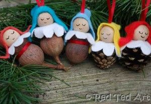 pine cone elves - triangle of felt and felt flower shape (circle with dents in 8 times on outside).  Cut small hole close to long side of triangle and in centre of flower. Knot length of ribbon, then ribbon through triangle then bead then flower hot gun each.  Glue flower to pine cone.  WOW!