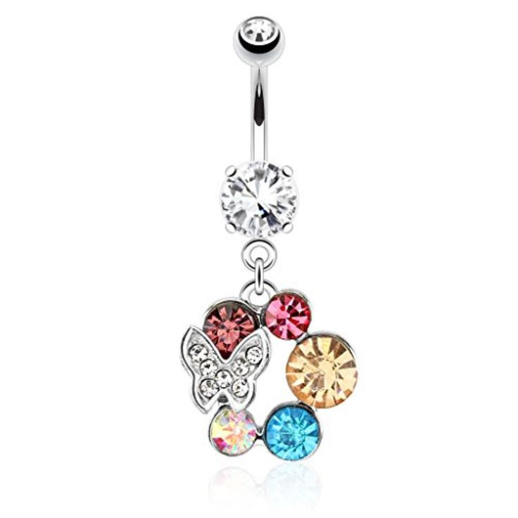 BodyJ4You Butterfly Ball Belly Button Ring 14G