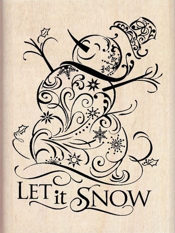 Snowman filigree stamp