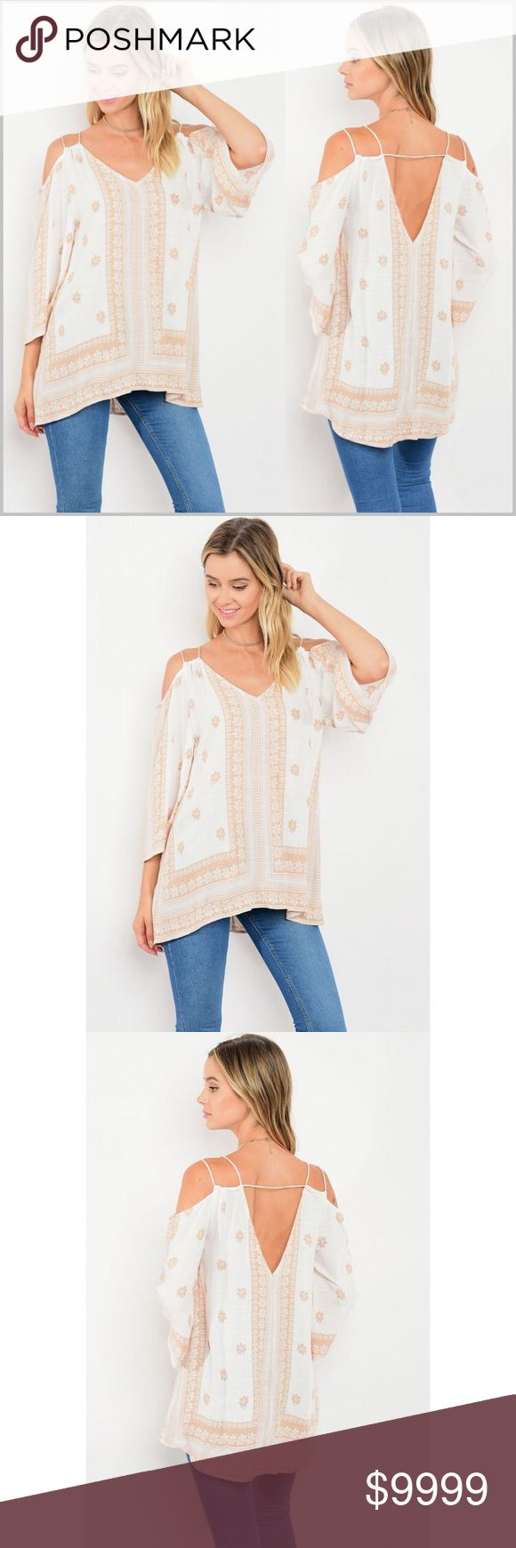 🆕COMING SOON🆕 Arriving by Friday July 14 Coming soon!   Should arrive by Friday July 14th.   Comment to reserve your size. Like to be notified of arrival.   Peach/Tan on white, deep V-back, open shoulder tunic.   Will be available in Small, Medium and Large.   Price will not exceed $34. Tops