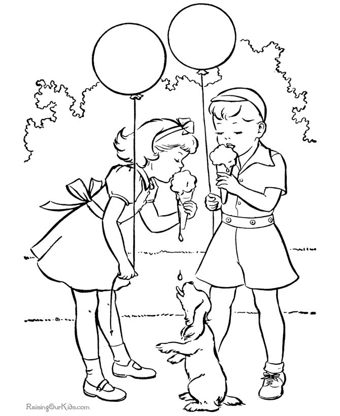 Balloon Color Page For Kids
