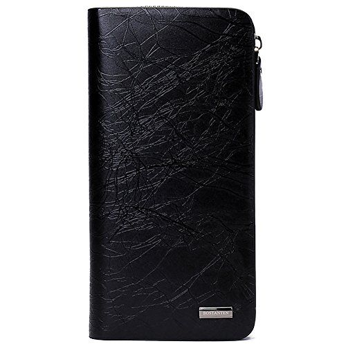 BOSTANTEN Leather Handbags Clutch Zip Checkbook Wallet for Men Black ** To view further for this item, visit the image link.
