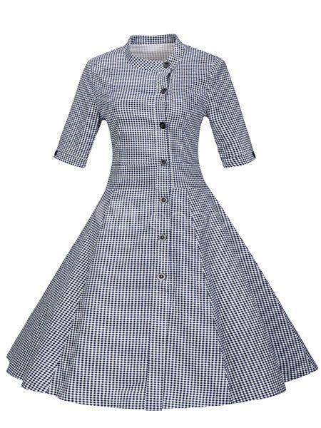 ヴィンテージのドレスを青 Plaided ボタン半袖スタンド カラー レトロなドレス女性のため - Milanoo.jp