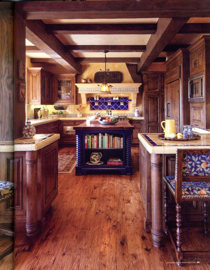 Mexican decor: Mexican style kitchen, blue island