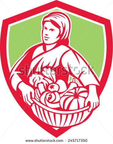 Illustration of a female organic farmer carrying basket full of vegetables fruits harvest looking to the side set inside shield crest on isolated background done in retro style.  - stock vector #mother #retro #illustration