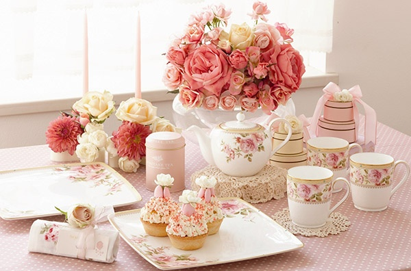 Lovely pink HERTFORD tea setting by Noritake. www.noritake.com.au