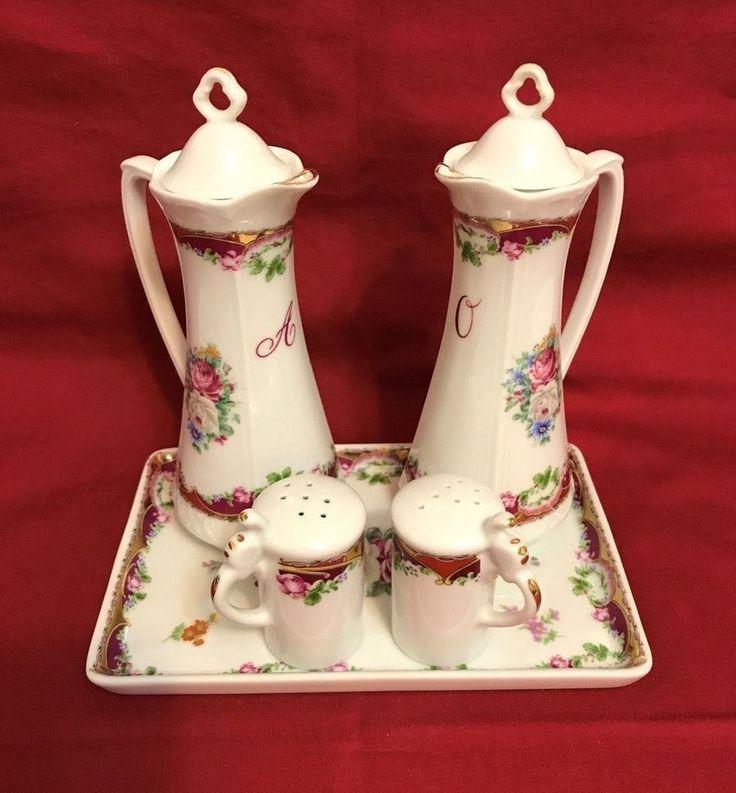 Vintage M.A.B.A. Porcellane Artistiche T. Limoges Condiment Set of 5 France #Limoges #Artistiche