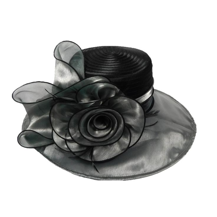 """Red and black, or Silver and black. 5"""" wide brim with wire edge. Large flower accent with black edge. Light, and packable!!! Adjustable drawstring inside. One size fits most."""